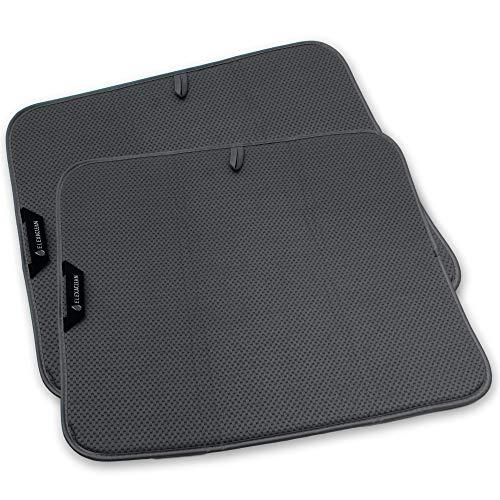 ELEXACLEAN Abtropfmatte, Mikrofaser Schutz für Küche, Spüle und Geschirr (2 Stück, 44x41 cm, Anthrazit) Trockenmatte als Abtropf Unterlage