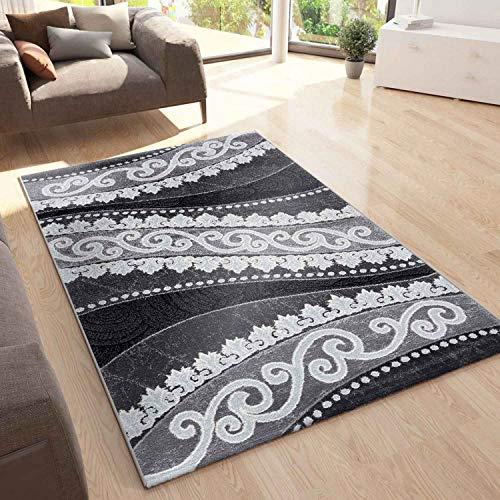 VIMODA Teppich Designer Kurzflor Wohnzimmer mit Glitzer Abstrakt Used Optik in Grau, Maße:200x290 cm