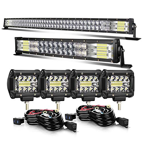 LED Light Bar KEENAXIS 50 Inch 288W 22 Inch 120W Curved Spot Flood Combo Light Bars 4Pcs 4 Inch 60W Led Pods Cubes Lights for Trucks Jeep ATV UTV Boat with 3-Leads Wiring