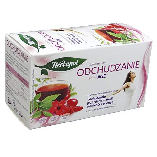 FemiAGE Adelgazante, Complemento Dietético HERBAPOL, Té de Hierbas y Frutas de Fresa y Ruibarbo, 40 g (20 sobres x 2 g)