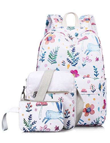 Leaper Cute Bunny Pattern Laptop Backpack School Bookbags Shoulder Bag Pencil Cases Pink 3PCS