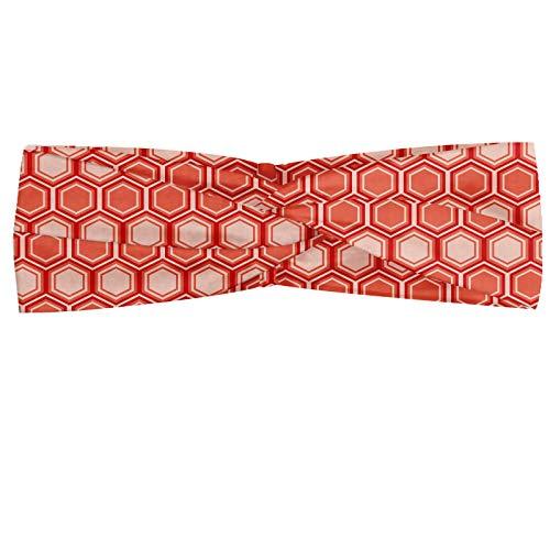 ABAKUHAUS Retro Halstuch Bandana Kopftuch, Hexagonal-Kamm-Muster Geometrische Fliese Grafik Grafik Vintage Design, Elastisch und Angenehme alltags accessories, Peach Coral Dunkel Coral