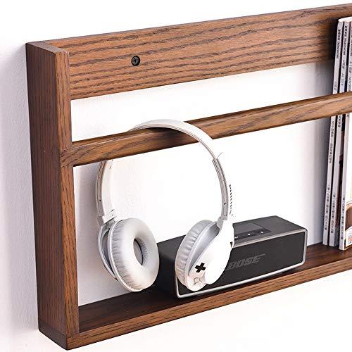Boekenkast van massief hout, eenvoudige wandplanken, display voor boeken en kranten, eenvoudig te installeren 100cm Walnut Color
