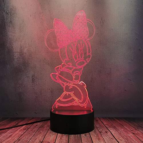 Schöne Minnie Maus Mickey Dancing 3D Lampe Flash LED 7 Farben ändern Nachtlicht Mädchen Kinderzimmer Dekoration Schreibtisch Tischlampe Kreative Comic Weihnachten Geburtstag Spielzeug Geschenke