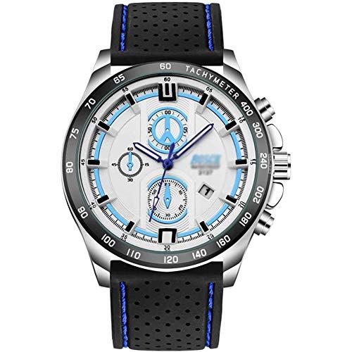Fikujap Banda De Silicona Clásica Reloj De Cuarzo Impermeable Hombres con Calendario Luminoso, Deportes De Ocio Al Aire Libre Relojes De Buceadores Militares De Negocios Militares Relojes