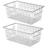 Slideep Farmhouse Wire Organizer Storage Bin Basket with Handles, Food Storage for Kitchen Cabinets, Pantry, Closet, Bedroom, Bathroom, Office 2 Pack
