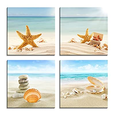 YPY Painting Beach Stone Sea Shells Sand Sunshine 4 PCS Wall Art Stretched Canvas Art Set Framed Ready to Hang