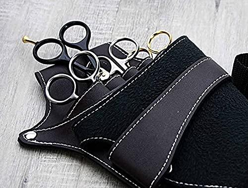 Funda de piel negra para tijeras de peluquería con cinturón de hombro y clips para remaches, ideal para todas las tijeras de afeitar de sright