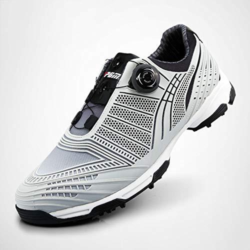 AUZZO HOME Kinder PGM Golfschuhe mit Spikes Anti-Skid Wasserdicht Twist Leichte Turnschuhe mit BOA Schnürsystem Männer Sport Schuhe,Schwarz,31