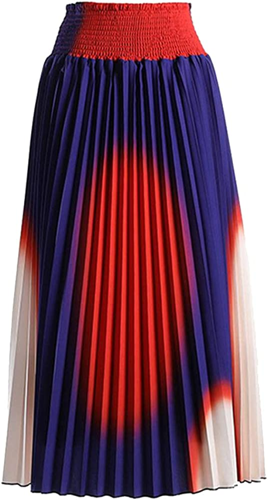 CHIC&TNK Pleated Skirt for Women High Waist Patchwork Casual Midi Skirts Female Clothing Spring
