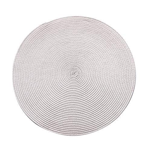 PLACEMATSJING 4 stuks ronde tafelkleden van gevlochten katoen, antislip - hittebestendige tafelkleden wasbaar 38 cm