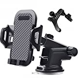 Car Phone Holder Mount Dashboard Windshield Air Vent Long Arm Strong Suction Cell Phone Car Mount Compatible with All iPhone & Android Cell Phones, Black