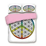 Pink 3pc Bedding Set,Life and Peace Symbol Forming Flower in Rainbow Colors Abstract Style Artful Design Queen Size Duvet Cover Set,Printed Comforter Cover with 2 Pillowcases for Women & Girls
