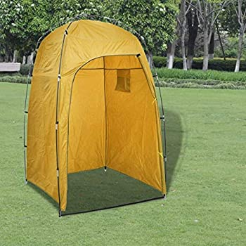 vidaXL Tente de Douche WC Tente de Dressing Tente de Vestiaire Tente de Camping Cabinet de Changement Toilette Extérieur Parc Plage Jaune
