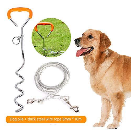 Hoomall Anlegepflock mit Tie Out Leinen Edelstahl Bodenanker mit Hundeleine für Draussen und Garten Orange