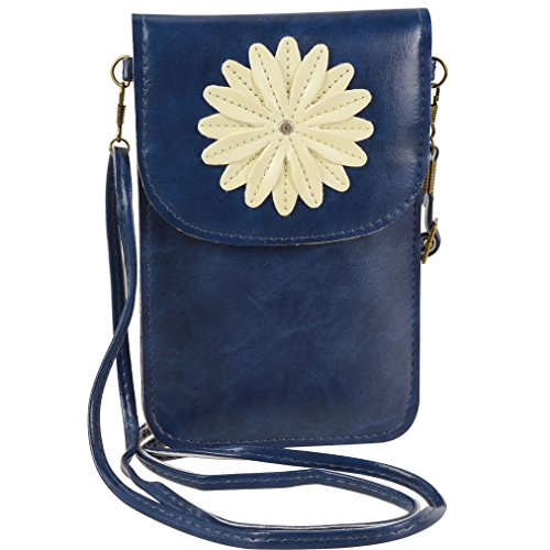 Faux Leather Women Small Crossbody Shoulder Bag Touch Screen Cell Phone Purse Wallet with Pocket for motorola one, moto g7 play, g7, z3 play, z3, g6 play, large Phones up to 6.2 inch (Blue)