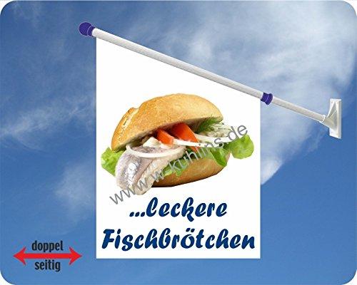 Werbeflagge (Fahne mit über 50 Varianten, Text und Bild, z.B. Eis, Döner, Kaffee, Crepes, Waffeln, Pommes uvm.) Ideal für Kiosk, Restaurant oder Kirmes, weiß (Fischbrötchen)