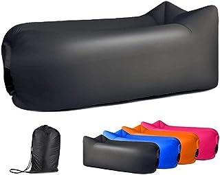 Sofá inflable de viaje con bolsa de almacenamiento, hamaca de aire inflable para viajes, camping, piscina y playa, con bolsa