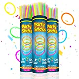 PartySticks Glow Sticks Party Supplies 300pk - 8 Inch Glow in The Dark Light Up Sticks Party Favors, Glow Party Decorations, Neon Party Glow Necklaces and Glow Bracelets with Connectors