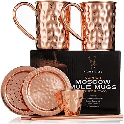 Moscow Mule Becher: 2er Set – Enthält 2 x 16oz Kupferbecher, 2 x Untersetzer, 2 x Strohhalme, 1 x Shotglas in Geschenkbox 100% Kupferzubehör Handgemachter Trinkbecher