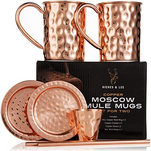 Tazas de Cobre de Moscow Mule Juego de Cuatro Incluye 2 x Tazas de 16 Onzas 2 x Posavasos 2 x Sorbetes 1 x Vaso/Copa de Shot en Caja de Regalo