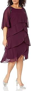 S.L. Fashions Women's Plus Size Long Cold Shoulder Popover Cape Dress