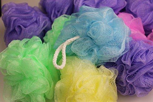 12-Pk Bath and Shower Sponge, Mesh Pouf, Assorted Colors