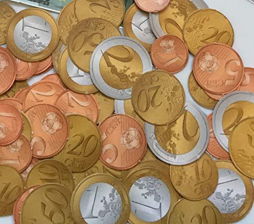 Carpeta Spielgeld - 320 Euro-Münzen in 1, 2, 5, 10, 20, 50 Eurocent + 1 und 2 Euro | € Coins Rechnen Lernen Kaufmannsladen Spielen Deko