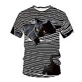 Camisetas para Hombre y Mujer,Unisex 3D Patrón Impreso T-Shirt Primavera y Verano Manga Corta Blusa para Hombre Blusa Moda Casual 3D Camiseta con Estampado de Gato Ropa de Pareja(H)