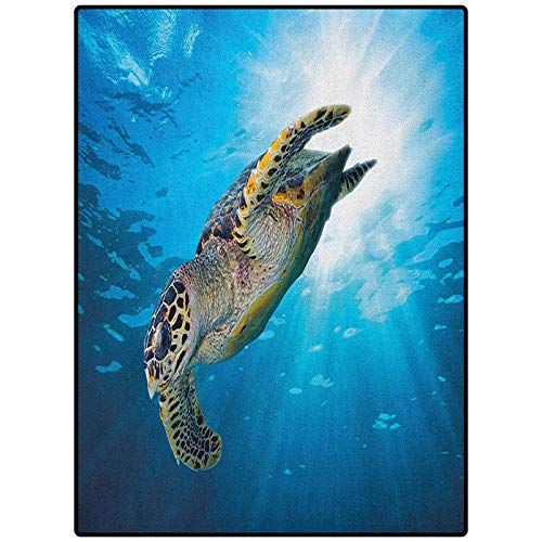 Turtle Table Nursery Carpet Mat Easy to Clean Living Dining Room Rug Hawksbill Sea Turtle Dive Deep Into The Blue Ocean Against Sun Rays Yellow Brown Aqua Blue 60' x 30'
