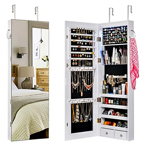 Sunix Armadietto per gioielli, Armadietto Portagioie con specchio a lunghezza intera in MDF, due cassetti, auto su LED, anello per sciarpa, chiavi bloccabili