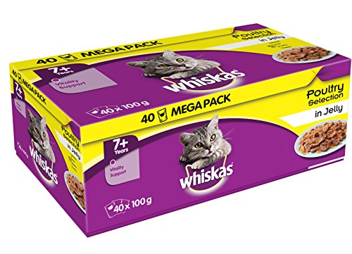 Whiskas Poultry in Jelly Wet Senior 7+ Cat Food Pouches, 40 x 100g