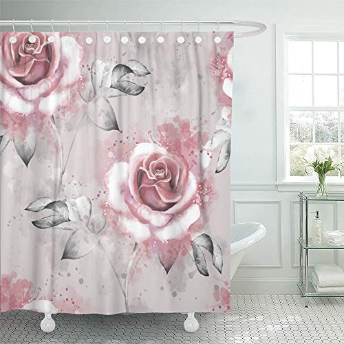 Emvency Shower Curtain Waterproof Adjustable Polyester Fabric Pink Flowers and Leaves on Gray Watercolor Floral Rose in Pastel Color 66 x 72 Inches Set with Hooks for Bathroom
