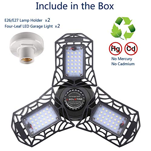 2-Pack LED Garage Lights 80W - 6000K Garage Lights Ceiling LED, 8000LM Deformable LED Garage Lighting Fixture, Shop Light with Adjustable Multi-Position Panels, LED Glow Light for Garage, Workshop 7