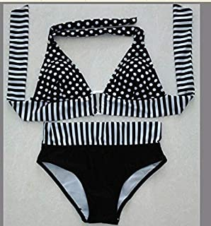 BEESCLOVER Biquini Retro Brazilian Swimsuit Stripe Dotted Women Vintage Bikini Swimsuit Plus Size Swimwear Lace-up Bathing Suit Praia Maio