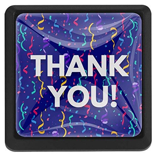 FCZ 3 Stück Wordart Thank You mit bunten Konfetti Schubladenknauf Zuggriff Kristallglas quadratische Form Schrank Schubladen Griffe mit Schrauben für Zuhause Küche Büro