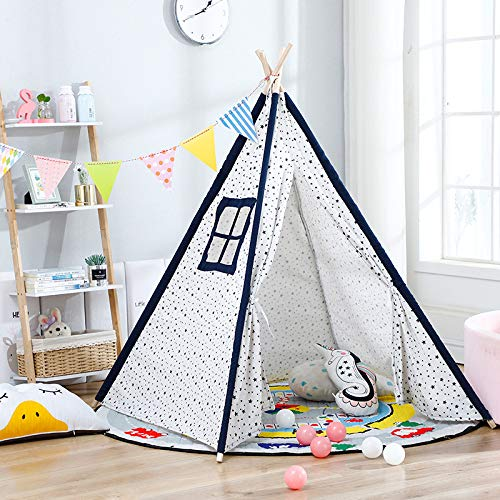 HGA Tipi Tent Outdoor Teepee For Kids Children'S Tent Indoor Indian Children'S Tent Dollhouse Princess Castle Outdoor Picnic Outing Tent,White 1.6Meters
