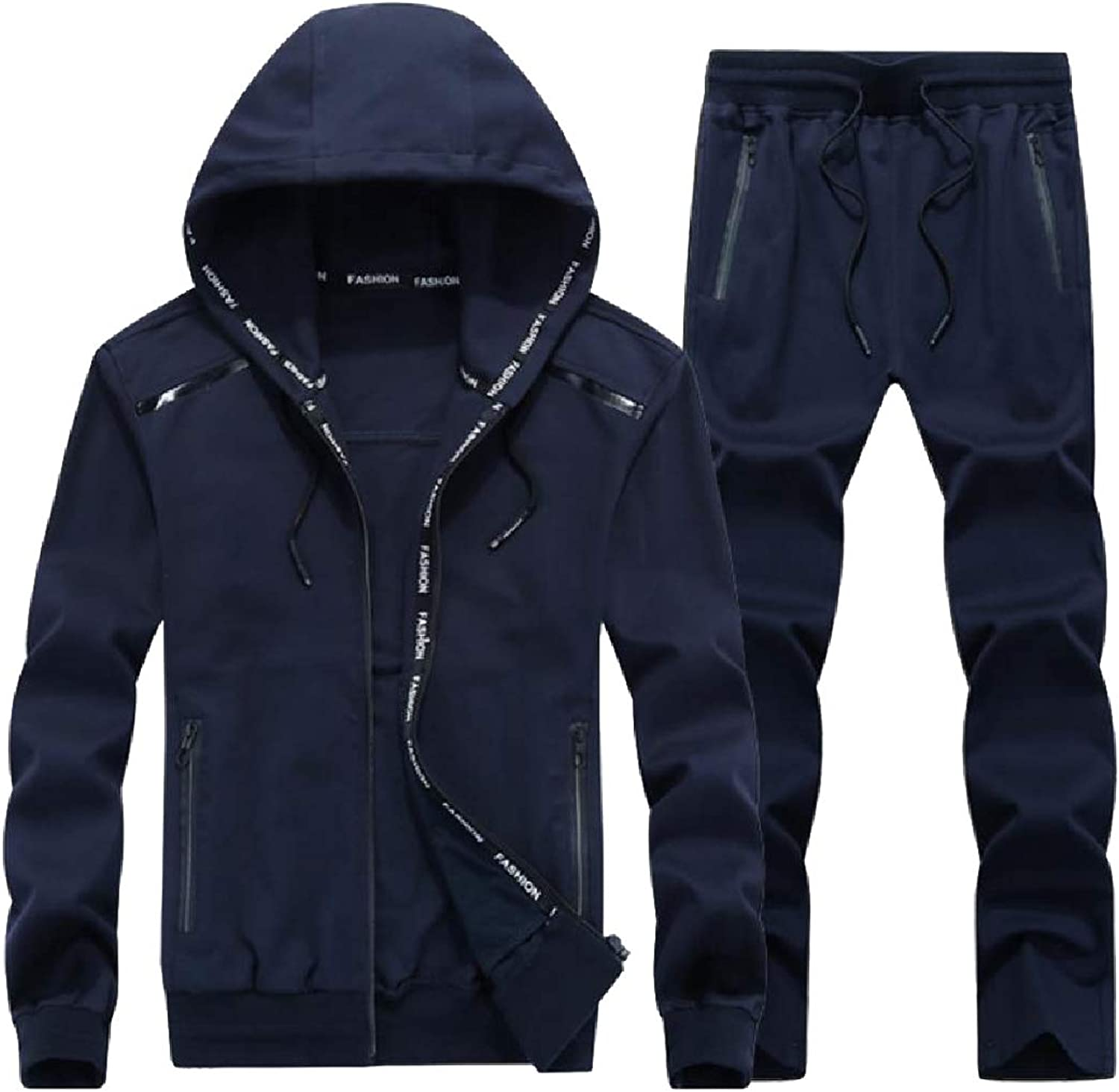 Howme-Men Drawstring Fall Winter Plus Size Big and Tall Sweatsuit