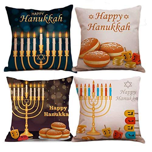 Seihoo Hanukkah Pillow Covers for Couch Pillows - 4 Packs Hanukkah Throw Pillow Covers is The Hanukkah Bush for Hanukah Decoration