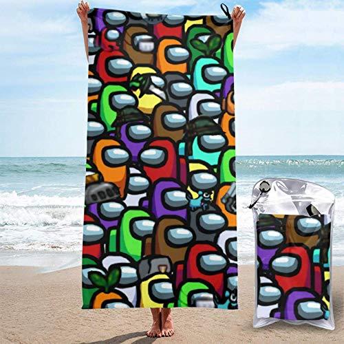 ZHKERYNA Toalla De Playa De Secado Rápido para Niños, Adolescentes Y Adultos A-Mo-Ng U-S Microfibra Toallas De Microfibra Grandes Super Planas Cómodas Y Plegables Manta De 31.5'x63