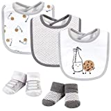Hudson Baby Unisex Baby Cotton Bib and Sock Set, Milk And Cookies, One Size