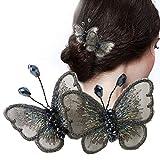 Schmetterlingsspange,Haarspange mit gestickten Seidengarn-Schmetterlingen Haarschmuck Beauty-Werkzeuge-Schwarz