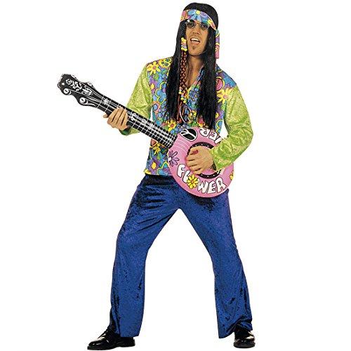 Guitarra hinchable decorativa, instrumento musical banjo hippie, decoración para fiestas, música de los años 70, accesorio para fiesta temática
