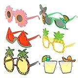 Lot de 6 paires de lunettes de soleil Luau fantaisie hawaïennes tropicales...