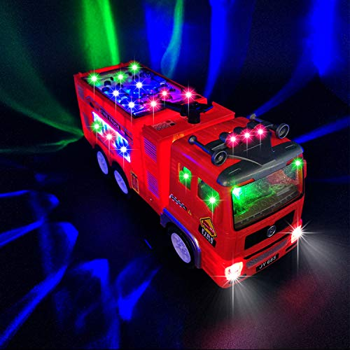 Fire Truck Toy for 3-9 Year Old Boys Girls,4D Lighted Fire Truck Toys for 3...
