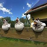 Stay&me Keramik Huhn Gartendeko, Tierfigur Gartenstecker Keramikfigur Handarbeit Ornament, Gartendeko Huhn Deko, Gartenstatue Dekorative Henne Huhn Gartenstecker,Gartendekoration (A_3 Stück)