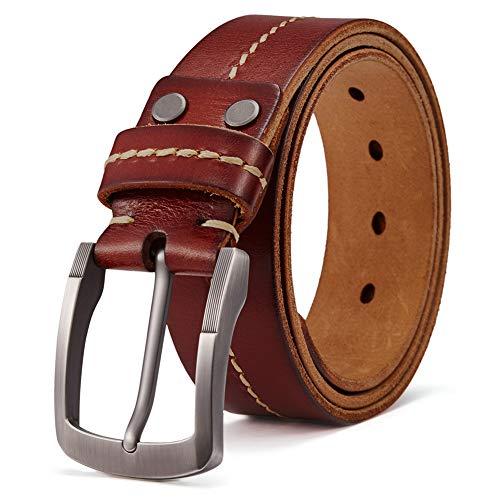 BOSTANTEN Herren Büffelleder Gürtel Männer Vintage Ledergürtel 38mm breit Jeans Belt Braun, Gr. 105CM