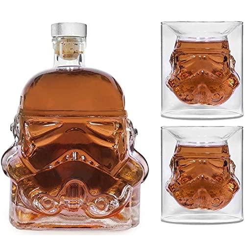 shandianniao Decantadores de Whisky creativos Transparentes, Jarra de Whisky, para Whisky, Vodka y Vino, Botella de 1 * (750 ml) y 2 Vasos (8,5 x 8,5 x 9.5 cm) (Color : A)