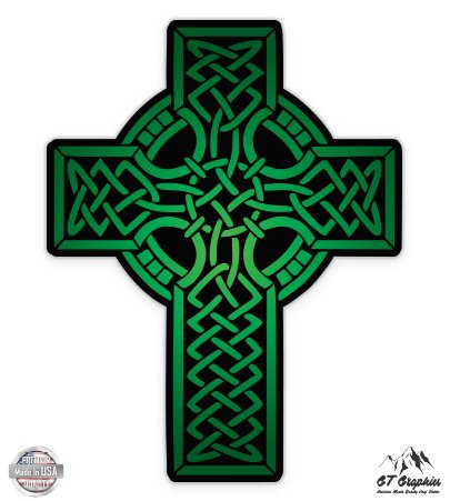 GT Graphics Green Celtic Cross - 5' Vinyl Sticker - for Car Laptop I-Pad - Waterproof Decal