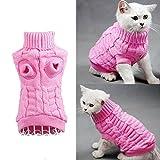 Maglione con dolcevita, a maglia intrecciata, per cani di piccola taglia e gatti, abbigliamento per l'inverno. rosa Pink S